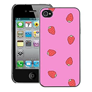 A-type Arte & diseño plástico duro Fundas Cover Cubre Hard Case Cover para iPhone 4 / 4S (Strawberry Red Pink Pattern Summer)