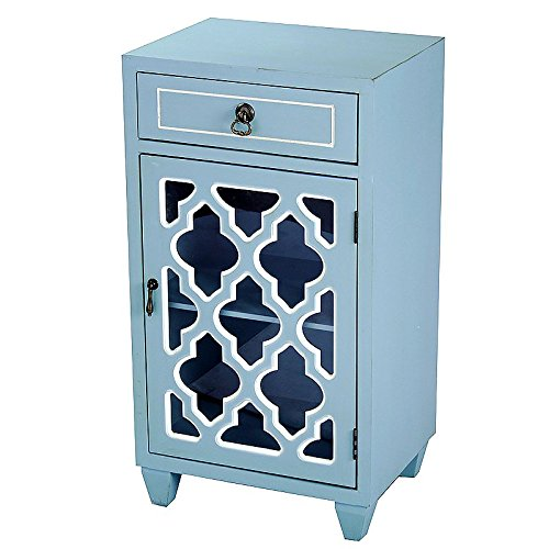 Heather Ann Creations Standing Single Drawer Distressed Storage Cabinet with Multi Clover Glass Window Inserts, 30'' x 18'', Aqua by Heather Ann Creations (Image #2)