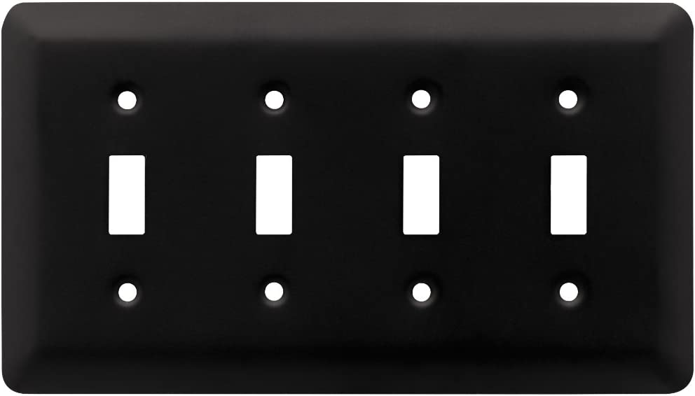 Franklin Brass W10248-FB-C Stamped Round Quad Toggle Switch Wall Plate/Switch Plate/Cover, Flat Black