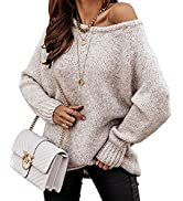 BTFBM Women's Long Sleeve Sweaters Casual Crew Neck Solid Color Soft Cozy Ribbed Knitted Pullover...