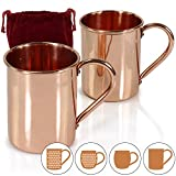 Amazy Moscow Mule Mugs – Set of 2 Handmade Solid 100% Copper Mugs (Cylinder | Flat) BONUS: Free E-Recipes with purchase