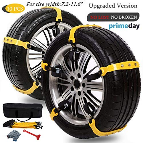 Anti Slip Snow Chains for SUV Car Adjustable Universal Emergency Thickening Anti Skid Tire Chain,Winter Driving Security Chains,Traction Mud Snow Chains for Car/Truck Tire Width 7.2-11.6