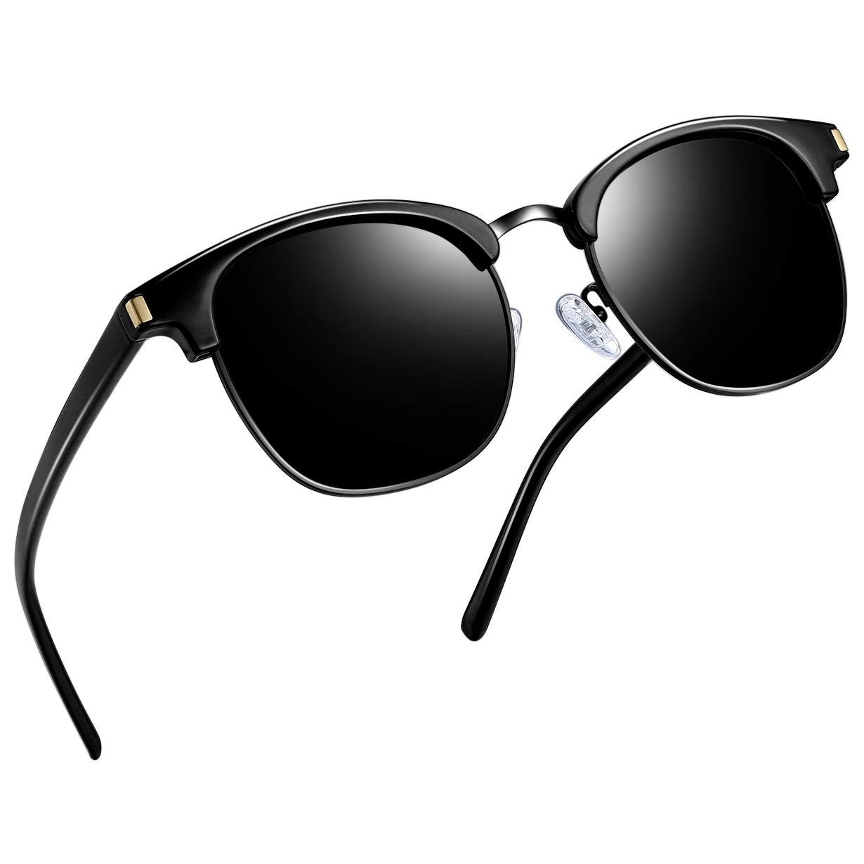 Joopin Semi Rimless Polarized Sunglasses Women Men Retro Brand Sun Glasses (Retro All Black)