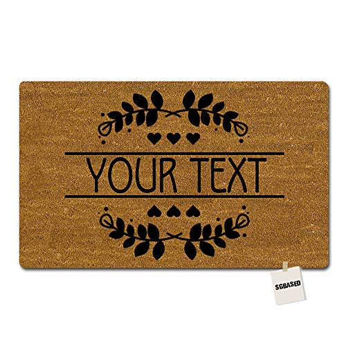 SGBASED Personalized Your Text Doormat Heart Blessed Leaves Mat Rubber Non-Slip Outdoor/Indoor Entrance Floor Mat Balcony Mat Non-Woven Fabric 23.6 X 15.7 inches