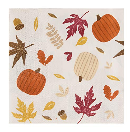 Cocktail Napkins - 100-Pack Disposable Paper Napkins, Autumn Thanksgiving Dinner Party Supplies, 2-Ply, Fall Leaves Design, White, Unfolded 13 x 13 Inches, Folded 6.5 x 6.5 Inches