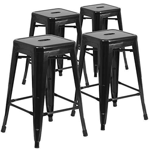 4 Pk. 24'' High Backless Black Metal Indoor-Outdoor Counter Height Stool with Square Seat