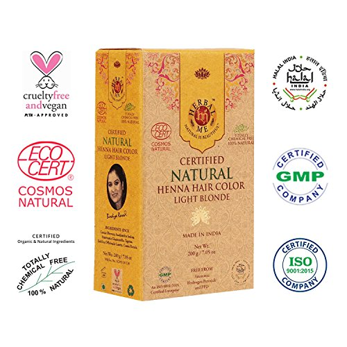 - Herbal Me - Light Blonde Henna Hair Color 7.05 oz, CERTIFIED 100% Natural by Ecocert (France). VEGAN & HALAL approved, Zero chemicals