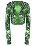 kayamiya Womens Shiny Sequin Long Sleeve Cropped Blazer Bolero Shrug L/US 10-12 Green