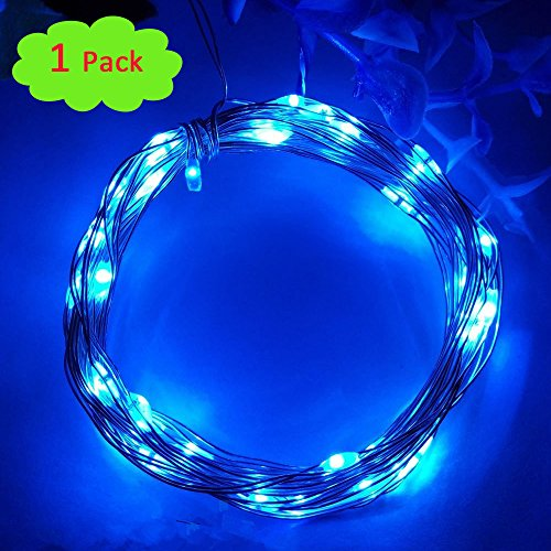 Cakuja Waterproof 6.5ft/2M 20LEDs Copper Wire Blue Fairy Lights for Trees Wedding Party Bedroom Christmas DIY Crafting Decoration Costume Making(3 AA Battery ()