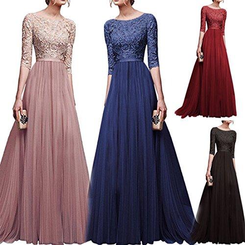 Lange Damen Arm Abendkleider KAIDUN Schwarz Elegant Brautjungfernkleid 3 4 nPZxnHzqS