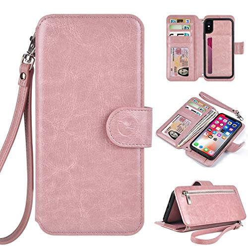 Humble Wallet Case Clutch Compatible with iPhone X Xs 10 - Rose Gold Wristlet Case Boutique Quality Vegan Leather Pink - with Card Holder Clutch Purse