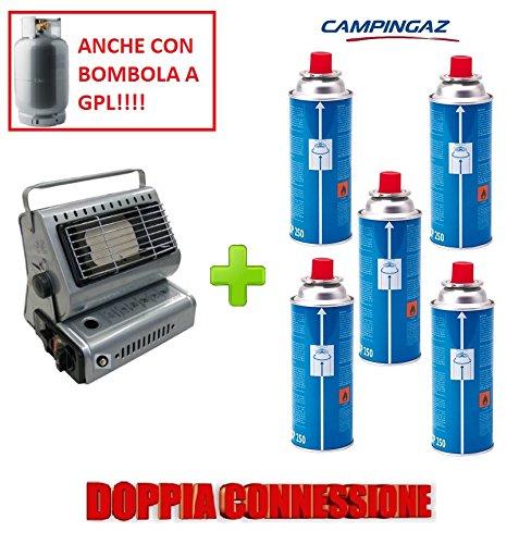 Estufa estufa a gas portátil doble casquillo GPL/Butano + 5 cartucho original Campingaz (): Amazon.es: Jardín