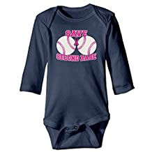 Breast Cancer Save Second Base Long Sleeves Baby Bodysuit Onesies