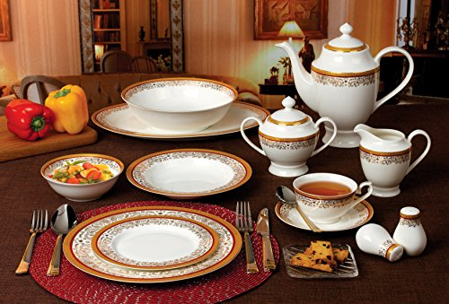 Used, Lorren Home Trends La Luna Collection Bone China 57-Piece for sale  Delivered anywhere in USA