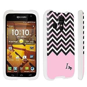 Zheng case Kyocera Hydro ICON C6730 Hard Case White - (Black Pink White Chevron I)