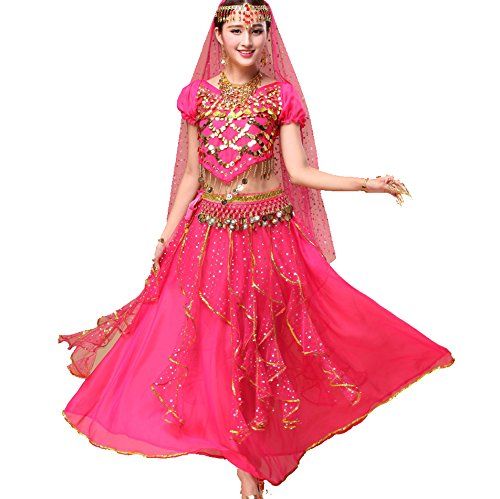Tango Dancer Costume (Dancewear Belly Dance Suit Custome V Neck Coins Top & Chiffon Long Two Layers Skirt dark pink)