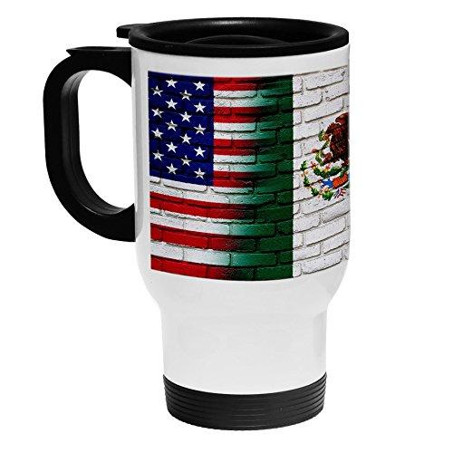 White Stainless Steel Coffee / Travel Mug - Flag of Mexico (Mexican) - Bricks/USA