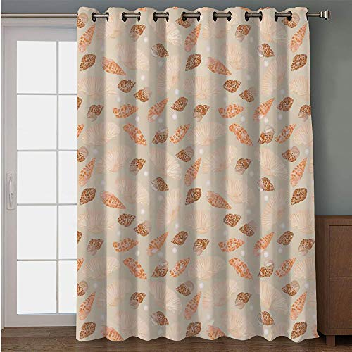 Blackout Patio Door Curtain,Pearls Decoration,Pattern with Pearls Seashells an Oysters Natural Marine Life Style Decor Beach Theme,Tan Peach,for Sliding & Patio Doors, 102