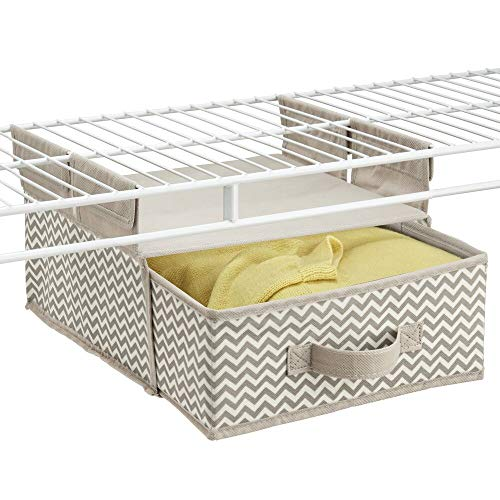 mDesign Soft Fabric Over Closet Shelving Hanging Storage Organizer with Removable Drawer for Closets in Bedrooms, Hallway, Entryway, Mudroom - Chevron Zig Zag Print with Solid Trim - Taupe/Natural