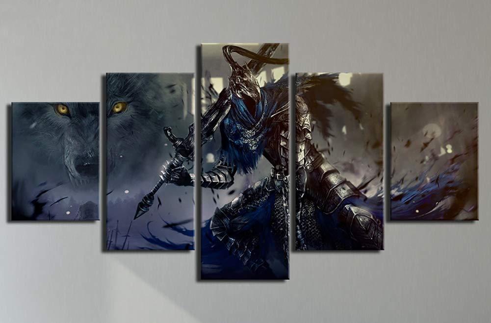 Leinwand Gemälde Home Decor 5 Stücke Spiel Dark Souls Warrior Poster Wohnzimmer Modular Abstrakte Bilder Wandkunst Rahmen