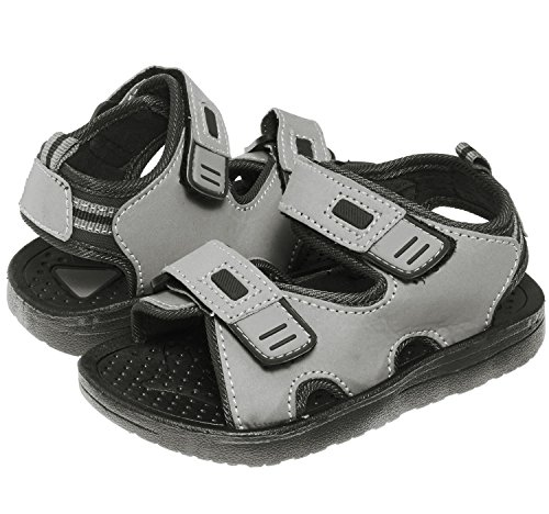 Double Velcro Strap - Skysole Boys Double Adjustable Strap Lightweight Sandals Grey/Black 7/8 US Toddler