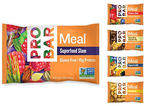 Probar Meal Bars 5 Flavor Assortment Original, Wholeberry, Peanut, Superfruit, Peanut Chips