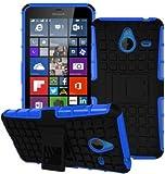GVC Tough Hybrid Armor Back Cover Case with Kickstand for Microsoft Lumia 640 XL (Blue)