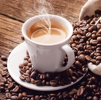 Glasbild Kaffeetasse und Kaffeebohnen - Größe 20 x 20 cm: Amazon.de ...