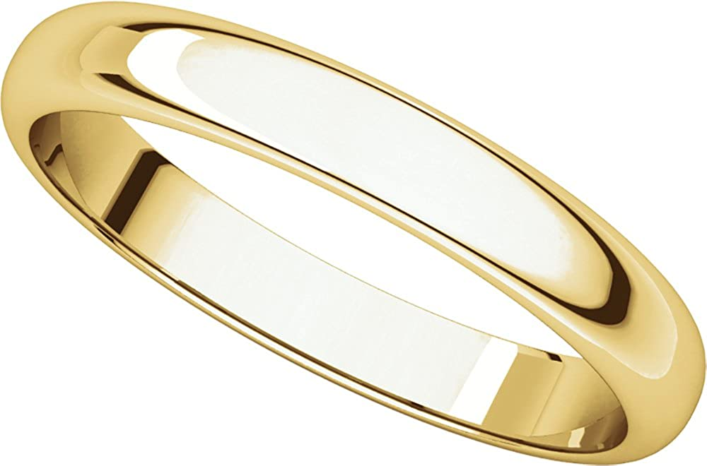 Mens 14K Yellow Gold 3mm Half Round Wedding Band Ring