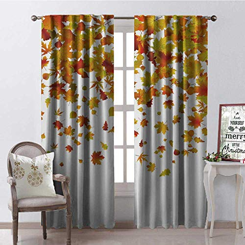 Hengshu Maple Leaves Autumn White Multicolor Window Curtain Drape Customized Curtains W108 x L108