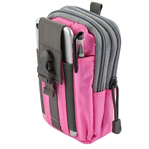Bemz Travel Pouch Compatible with Coolpad Legacy (2019), 600D Waterproof Nylon Material Tactical EDC MOLLE Organizer Carrying Holster Case and Atom Cloth - Pink/Gray from Bemz Depot