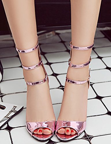Sexy Pink Three Sandals High Heels Buckle Women's Shoes Aisun BAxfa8