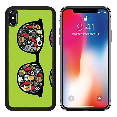 MSD Premium Apple iPhone X Aluminum Backplate Bumper Snap Case IMAGE ID: 12820531 Retro eyeglasses with holidays reflection in it Vector illustration of - December In Crazy Holidays