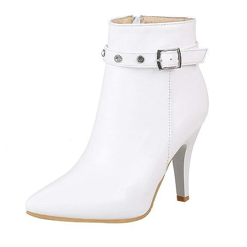YE Bottine Sexy Strass Femme Talon Haut Aiguille Bottes Zip Chaussure  Hiver(Blanc,34 f0a946ac61d5