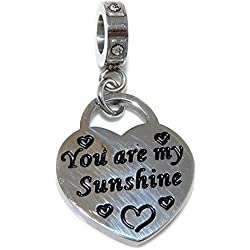 """Stainless Steel Dangling """"You Are My Sunshine"""" Charm Bead 050 for European Snake Chain Bracelets"""