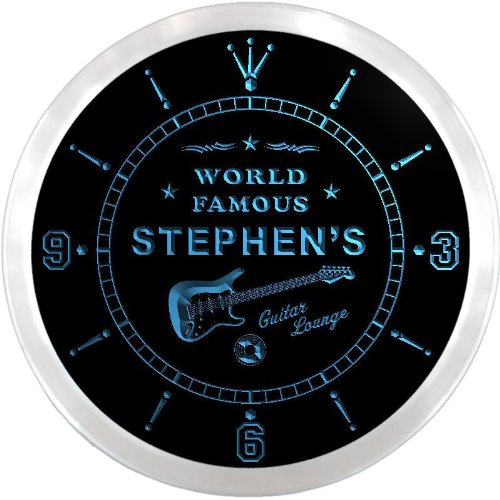 ncpf0034-b STEPHEN'S Famous Guitar Lounge Beer Pub LED Neon Sign Wall Clock