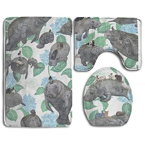 (CuteToiletLidABC Rabbits Rode On The Manatees Bath Mat Set,3 Piece Bathroom Mats Set Non-Slip Bathroom Rugs/Contour Mat/Toilet Cover)
