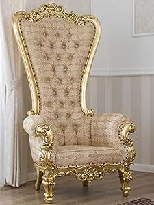 Sillón Regina Estilo Barroco Francese Trono Color Hoja Oro Tela Damasco Marfil y Oro Botones Swarovski