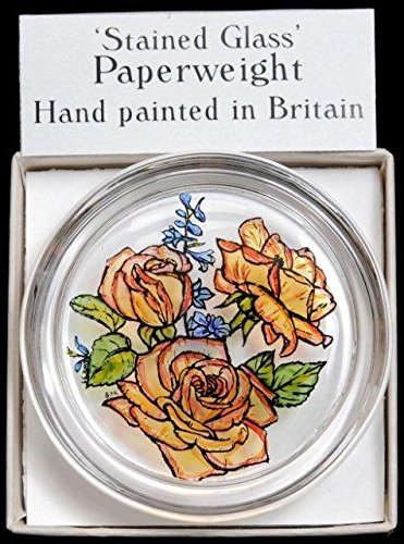 Decorative Hand Painted Stained Glass Paperweight in a Golden Roses Design