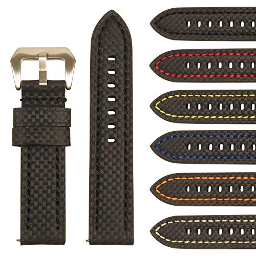 Men's Carbon Fiber Leather Watch Band - Quick Release Strap - 20mm 22mm 24mm 26mm ()