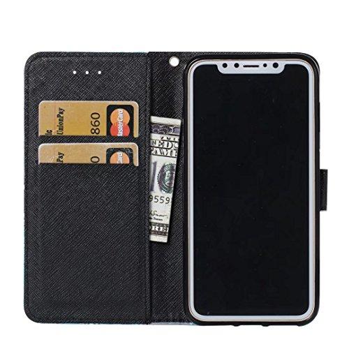 COWX iPhone X Hülle Kunstleder Tasche Flip im Bookstyle Klapphülle mit Weiche Silikon Handyhalter PU Lederhülle für Apple iPhone X Tasche Brieftasche Schutzhülle für iPhone X schutzhülle EOPxLecuh2