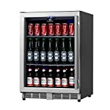 KingsBottle 160 Can Beverage Cooler, Stainless Steel with Glass Door