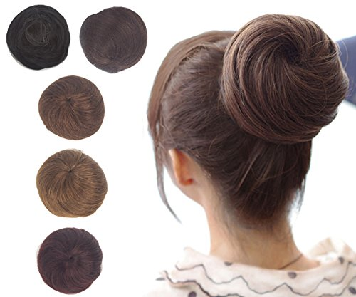 Drawstring Human Hair Bun Extensions Remy Updo Extensions Donut Hair Chignons with Clips Synthetic Ponytail Hairpieces Wine Red