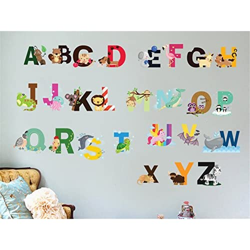 hot sale Nursery Educational Wall Decals - Animal Alphabet Baby Decorative Peel and Stick Wall Art  sc 1 st  Happy Turtle & hot sale Nursery Educational Wall Decals - Animal Alphabet Baby ...