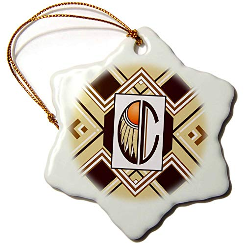 3dRose Russ Billington Monograms- Art Deco- Letter C - Letter C- Art Deco Native American Dreamcatcher Themed Monogram - 3 inch Snowflake Porcelain Ornament (ORN_299627_1)