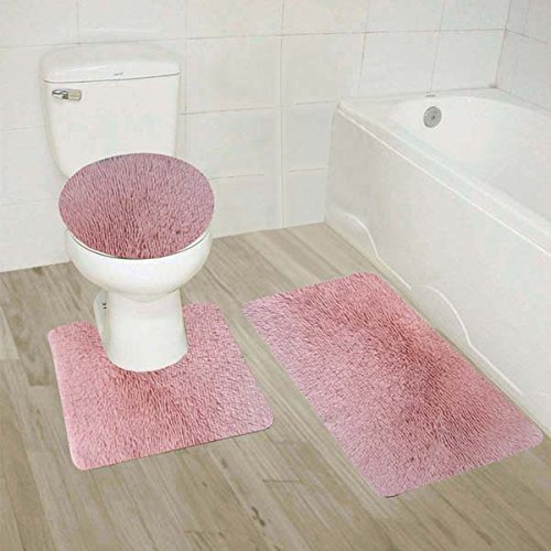 Golden Linens 3 Piece Shaggy Hairy Bathroom Rug Set Bath Rug, Contour Mat, & Lid Cover Non-Slip With Rubber Backing Solid Color (Light Pink) (Sets Rug Bathroom Pink)