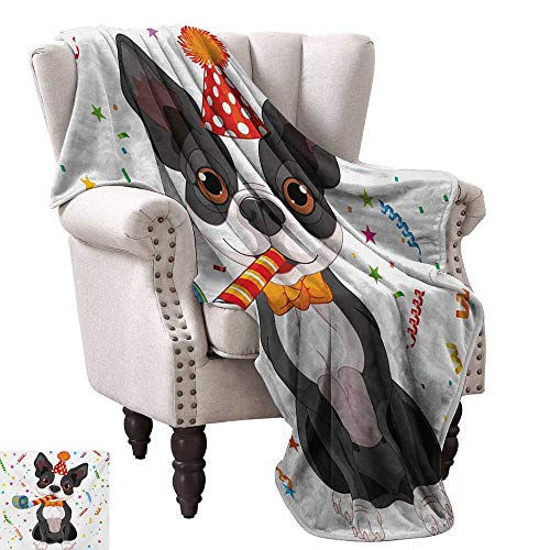 White Reversible Dog Scarf - WinfreyDecor Kids Birthday Reversible Blanket Black and White Boston Terrier Dog with Colorful Party Celebration Backdrop Ultra Soft and Warm Hypoallergenic 70