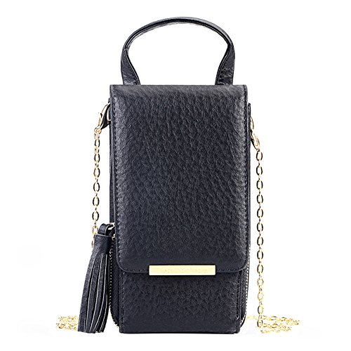 Fashion Leather Leisure Phone Purse Small Shoulder Messenger Bag Cellphone Pouch Wallet Case Black from EasyHui