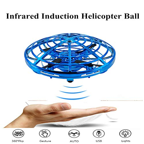 (JINGEMAN Flying Ball Toys for Kids, Hand Controlled Interactive Infrared Induction Mini Drone Helicopter with LED Lights, Flying Toys for Boys or Girls (Blue))