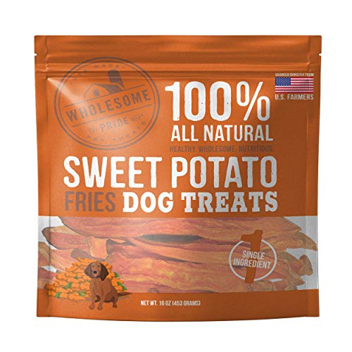 Dehydrated Sweet - Wholesome Pride Sweet Potato Fries Dog Treats, Dehydrated, Made in The USA, Grain Free, Healthy Dog Chews, 16 oz